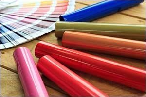 Aluminum profiles coated with colorful powder coating.